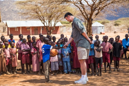 Yao Ming Greets Samburu Villagers