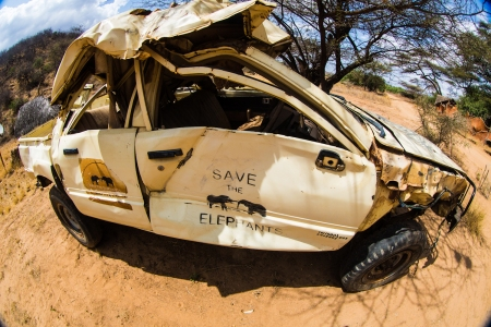 A Crushed Save the Elephants Vehicle