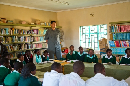Yao Ming Visits a School in Ol Pejeta