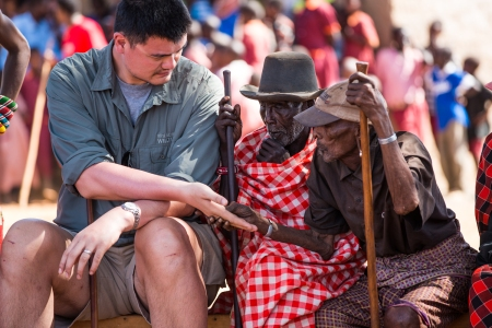 Yao Ming with Samburu Village Elders