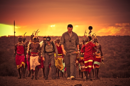 Yao Ming Flanked by Samburu Warriors