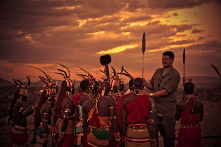 Yao Ming Presented With an 8ft Spear by Samburu Warriors