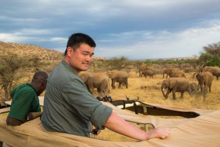 Yao Ming in Samburu Reserve