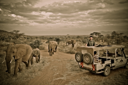 Yao Ming Among Africans at Samburu Reserve