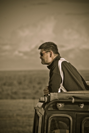 Yao Ming Enjoys the View on the way to The Ol Pejeta Conservancy