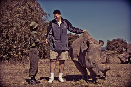 Yao Ming Meets Mohammed, Keeper of the Northern White Rhinos at Ol Pejeta